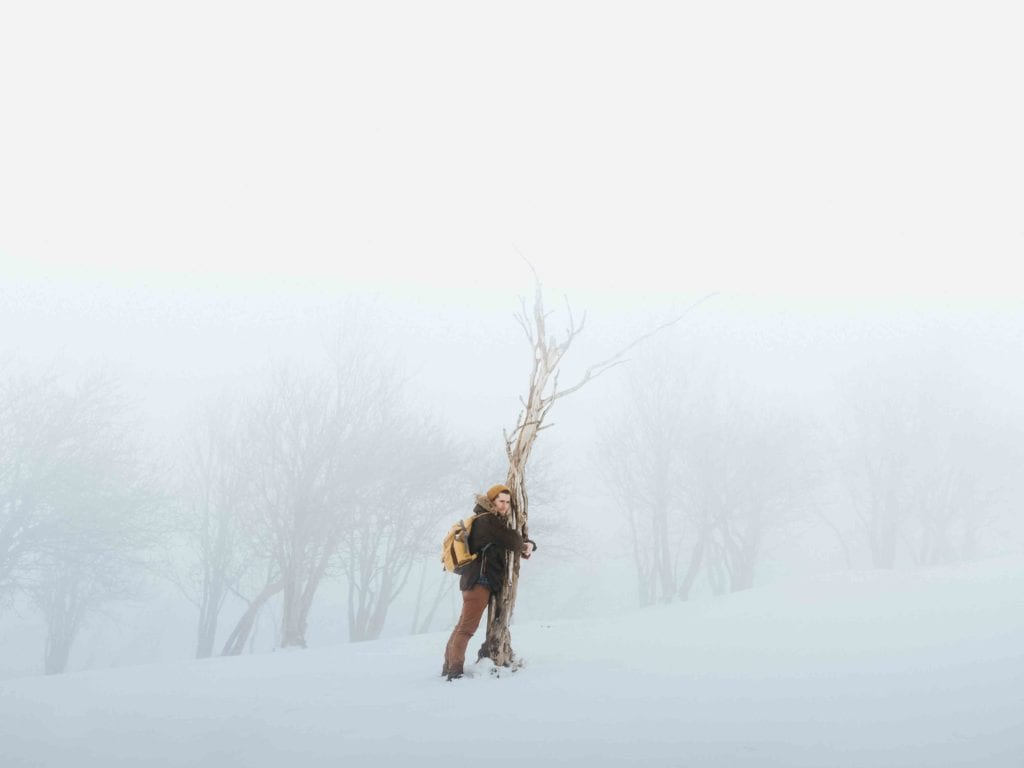 tree hugger in snow