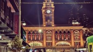 Flinders Street Station lit up at night